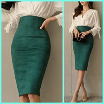 Pencil Skirts Short Suede Plain Elegant Style Skirts