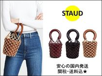 STAUD Blended Fabrics Plain Leather Bold Dark Brown Straw Bags