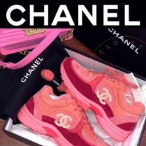 CHANEL SPORTS Rubber Sole Casual Style Suede Street Style Plain Handmade