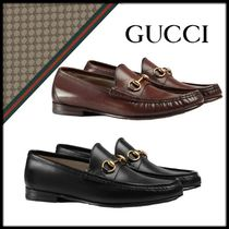 GUCCI Loafers Blended Fabrics Plain Leather Loafers & Slip-ons