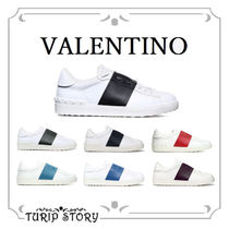 VALENTINO Studded Plain Leather Sneakers