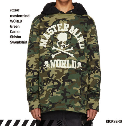 Skull Camouflage Street Style Long Sleeves Cotton