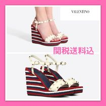VALENTINO Stripes Casual Style Sandals