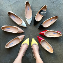 Casual Style Enamel Plain Pointed Toe Shoes