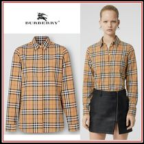 Burberry Long Sleeves Cotton Shirts & Blouses