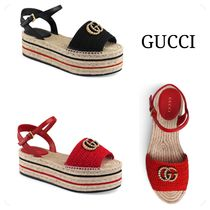 GUCCI Open Toe Casual Style Plain Heeled Sandals