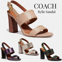 Coach Open Toe Casual Style Plain Leather Chunky Heels