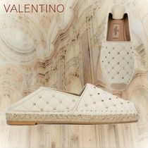 VALENTINO Round Toe Rubber Sole Blended Fabrics Studded Leather