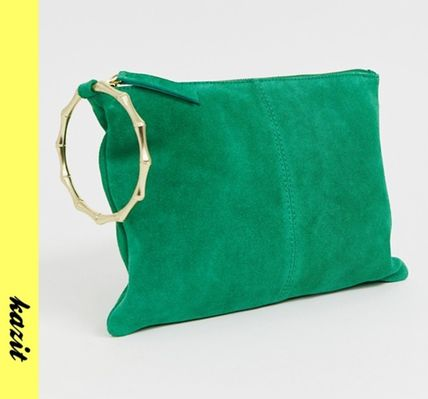 Casual Style Suede Clutches