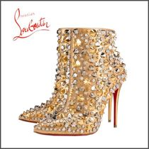 Christian Louboutin Plain Toe Studded Pin Heels Party Style High Heel Boots
