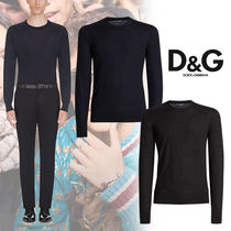 Dolce & Gabbana Crew Neck Cashmere Long Sleeves Plain Knits & Sweaters