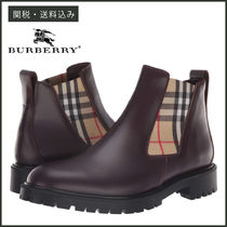 Burberry Tartan Unisex Blended Fabrics Plain Leather Chelsea Boots