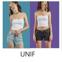 UNIF Clothing Short Casual Style Plain Cotton Denim & Cotton Shorts