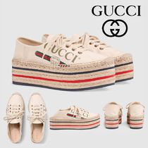 8a439252319 GUCCI Platform Plain Toe Casual Style Platform   Wedge Sneakers