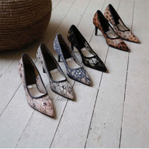 Flower Patterns Casual Style Pointed Toe Pumps & Mules