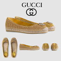 GUCCI Platform Round Toe Casual Style Plain Lace-Up Shoes