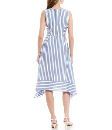 Stripes Casual Style Sleeveless Flared Medium Party Style