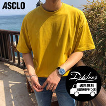 ASCLO Crew Neck Plain Cotton Short Sleeves Oversized