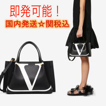 VALENTINO Casual Style Calfskin Street Style Totes