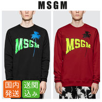 MSGM Crew Neck Pullovers Tropical Patterns Street Style