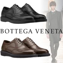 BOTTEGA VENETA Wing Tip Plain Leather Oxfords