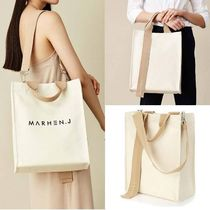 MARHEN.J Casual Style Unisex Canvas A4 Plain Shoulder Bags