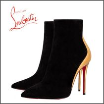 Christian Louboutin Velvet Bi-color Plain Pin Heels Party Style High Heel Boots