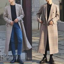 Other Check Patterns Street Style Long Oversized Coats