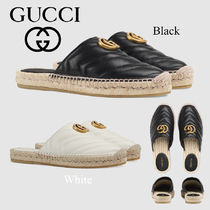 GUCCI Platform Plain Toe Casual Style Plain Leather