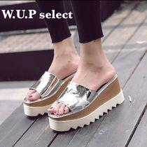 Open Toe Platform Casual Style Blended Fabrics