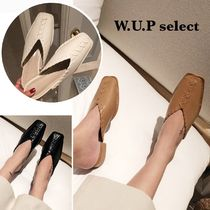 Square Toe Casual Style Plain Slippers Shoes