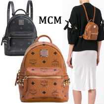 MCM Monogram Casual Style Canvas Studded Street Style Backpacks