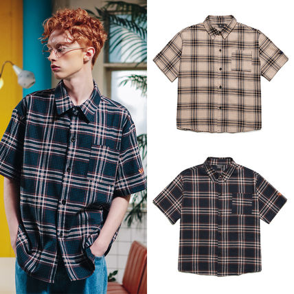 Other Check Patterns Street Style Cotton Short Sleeves