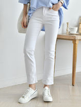 Casual Style Plain Cotton Long Cropped & Capris Pants