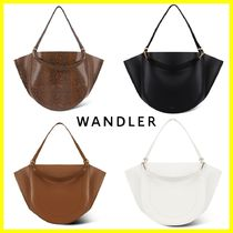 WANDLER 2WAY Plain Leather Office Style Totes