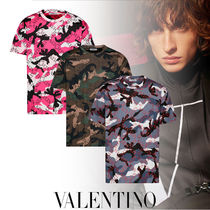 VALENTINO Crew Neck Camouflage Street Style Cotton Short Sleeves