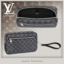 Louis Vuitton DAMIER GRAPHITE Canvas Blended Fabrics Street Style 2WAY Clutches