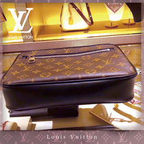 Louis Vuitton MONOGRAM MACASSAR Monogram Blended Fabrics Street Style 2WAY Leather Clutches
