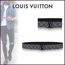 Louis Vuitton DAMIER GRAPHITE Other Check Patterns Unisex Blended Fabrics Bi-color Belts