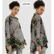 MONKI Leopard Patterns Casual Style Long Sleeves Long Oversized