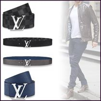 Louis Vuitton DAMIER Unisex Blended Fabrics Bi-color Plain Leather Long Belt