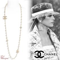 CHANEL Blended Fabrics Street Style Chain Party Style