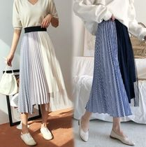 Stripes Casual Style Chiffon Pleated Skirts Bi-color Long