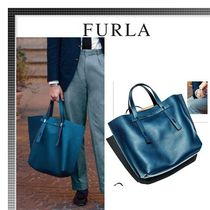FURLA Plain Leather Totes
