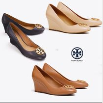 Tory Burch Round Toe Plain Leather Elegant Style Wedge Pumps & Mules