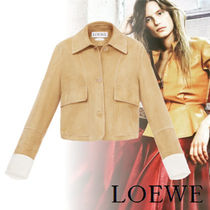 LOEWE Short Casual Style Suede Bi-color Plain Jackets