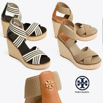 Tory Burch FRIEDA Stripes Open Toe Plain Elegant Style