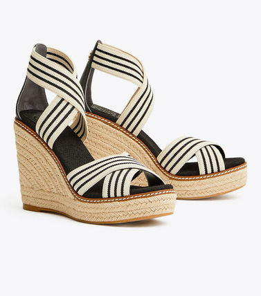 Tory Burch FRIEDA Stripes Open Toe Platform Casual Style Plain Party Style