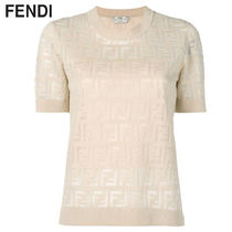 FENDI Crew Neck Monogram Cotton Short Sleeves Elegant Style
