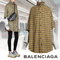 BALENCIAGA Other Check Patterns Casual Style Blended Fabrics